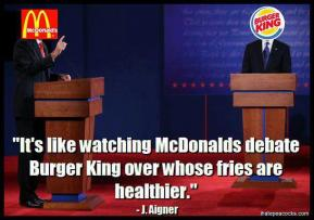 Barack Obama Mitt Romney - Debate - Aigner, J - Burger King McDonald's Which Fries Are More Healthier