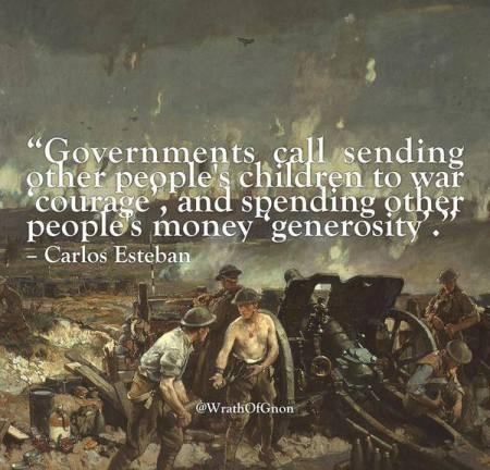 government war children courage; other peoples money generosity
